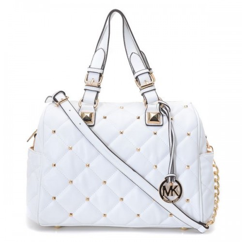 Michael Kors Stud Quilted Satchel White